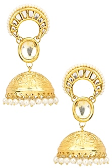 Gold Finish Kundan Stone Crescent Jhumki Earrings by Just Shraddha