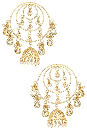 Gold Finish Kundan and Pearl Round Spiral Earrings by Just Shraddha