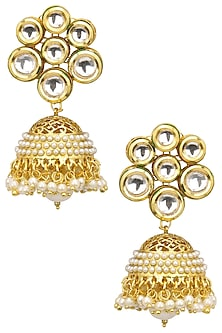 Gold Finish Cutwork Jhumki Earrings by Just Shraddha
