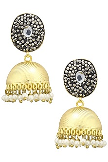 Gold Finish Zircons and Pearls Jhumki Earrings by Just Shraddha
