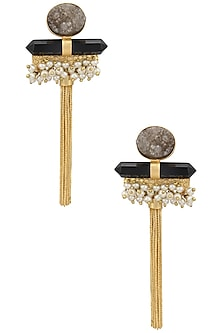 Gold Finish Semi Precious Stone and Tassel Earrings by Just Shraddha