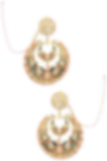 Gold Finish Kundan and Meenakari Chandbali Earrings by Just Shraddha