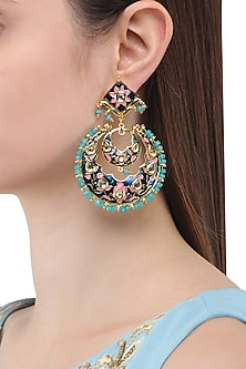 Gold Finish Meenakari Chandbali Earrings by Just Shraddha