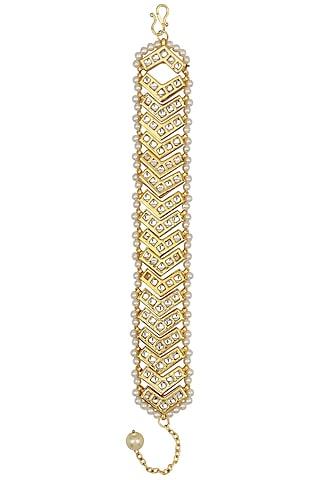 Gold Finish Kundan Bracelet by Just Shraddha