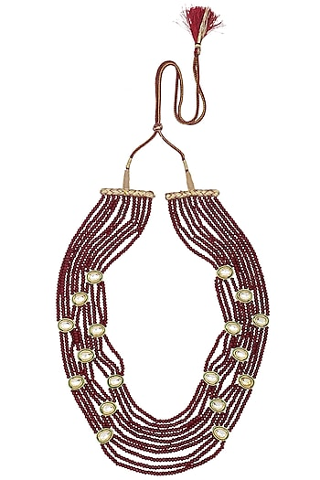 Gold Finish Polki and Maroon Beads Necklace by Just Shraddha