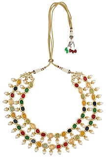 Gold finish navratan stone 2 liner string necklace by Just Shraddha