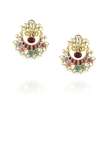 Gold finish phoolbahar navratan chandbali earrings by Just Shraddha