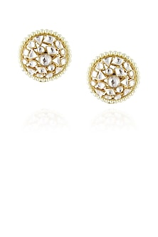 Gold finish uncut polki stud earrings by Just Shraddha