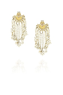Gold finish uncut stone and kundan earrings with pearl tassel by Just Shraddha