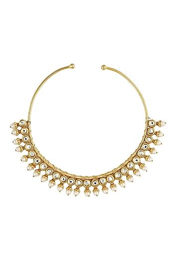 Gold finish kundan and pearl work hasli by Just Shraddha