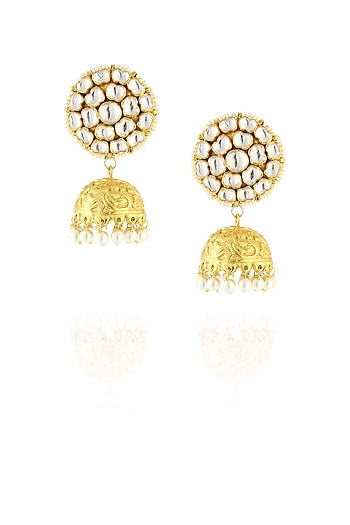Gold finish polki studded jhumki earrings by Just Shraddha