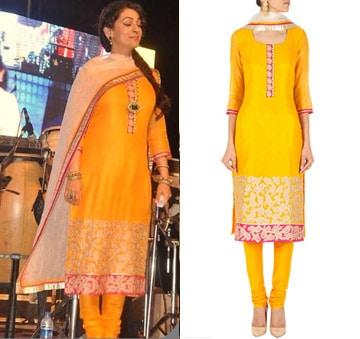 Yellow embroidered kurta set by SVA BY SONAM & PARAS MODI