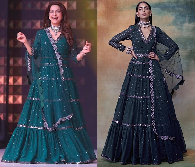Emerald Green Anarkali With Dupatta by Vvani by Vani Vats
