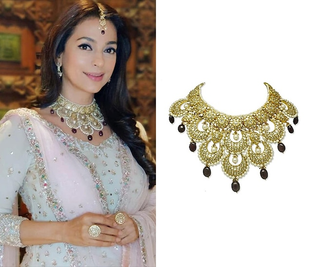 Gold Scalloped Necklace With Pearls & Ruby Drops by Tyaani