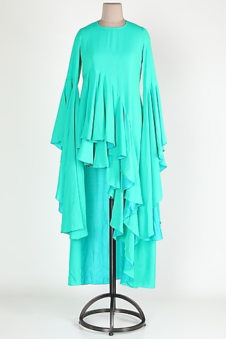 Green Ruffled High-Low Dress by Jesal Vora
