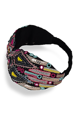 Black Crepe Embroidered Headband by Joey & Pooh