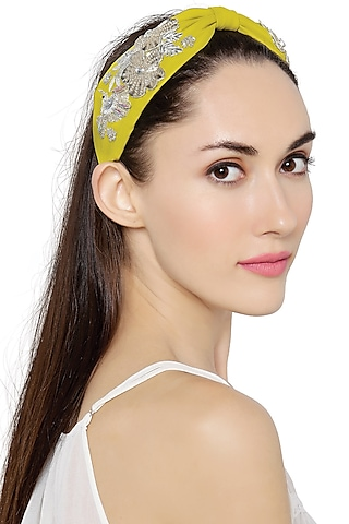 Lime Yellow Floral Hairband by Joey & Pooh