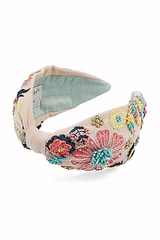 White Hairband With Thread Embroidery by Joey & Pooh