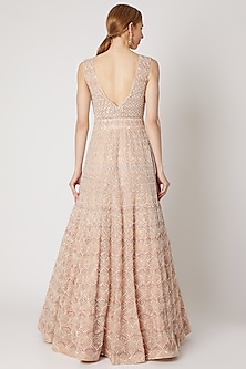 Nude Blush Embroidered Gown by Jiya by Veer Designs