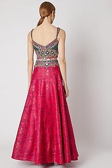 Royal Blue Embroidered Blouse & Pink Lehenga Set by Jiya by Veer Designs