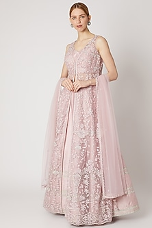 Blush Pink Embroidered Anarkali Lehenga Set by Jiya by Veer Designs