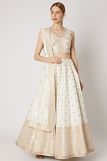 Ivory & Gold Embroidered Lehenga Set by Jiya by Veer Designs