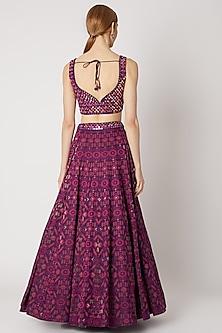Purple & Magenta Embroidered Printed Lehenga Set by Jiya by Veer Designs