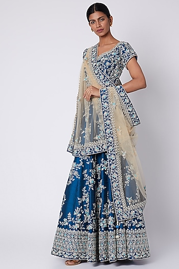 Turquoise Blue Embroidered Lehenga Set by Jiya by Veer Designs