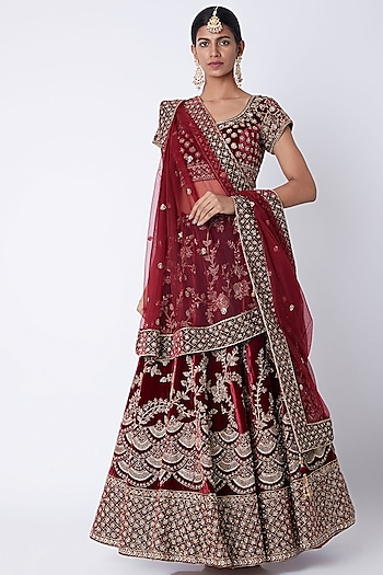 Maroon Embroidered Lehenga Set by Jiya by Veer Designs