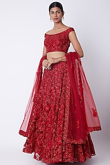 Red Embroidered Lehenga Set by Jiya by Veer Designs