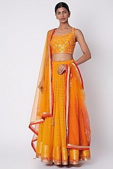 Orange Embroidered Lehenga Set by Jiya by Veer Designs