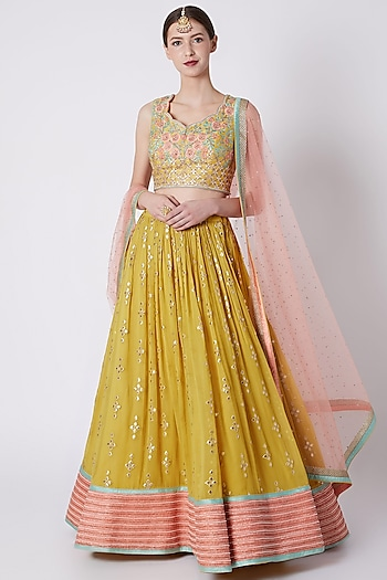 Yellow Embroidered Lehenga Set by Jiya by Veer Designs