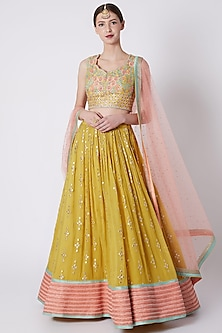 Yellow Embroidered Lehenga Set by Jiya by Veer Designs-SHOP BY STYLE