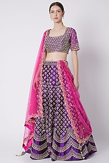 Purple Embroidered Lehenga Set by Jiya by Veer Designs