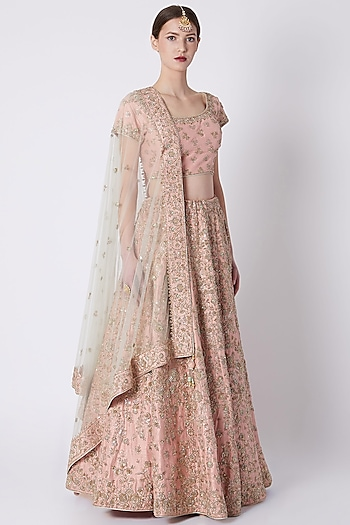 Peach Embroidered Lehenga Set by Jiya by Veer Designs