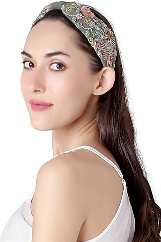 Olive Green Embroidered Headband by Joey & Pooh