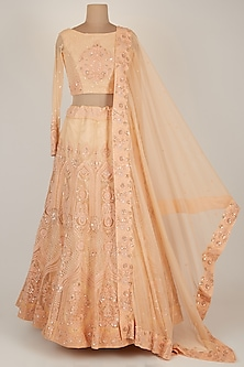 Peach Embroidered Lehenga Set by Karuna Deora