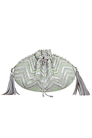 Mint Green Potli Bag With Chain & Tassels by Kaeros