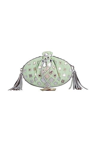 Mint Green Potli With Tassels & Chain by Kaeros