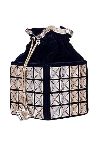 Navy Blue Velvet Potli Bag by Kaeros