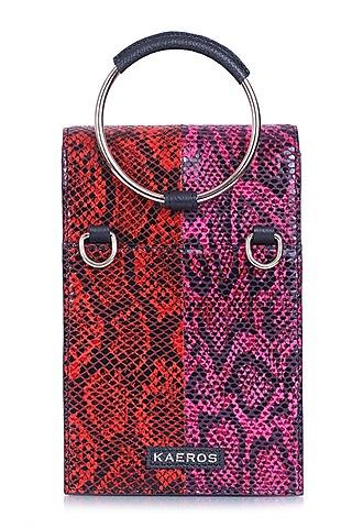 Red & Pink Printed Bracelet Bag by Kaeros
