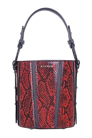 Red & Black Python Printed Bucket Bag by Kaeros