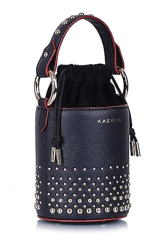 Black Embellished Bucket Bag by Kaeros