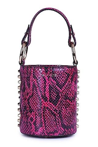 Pink Python Printed Bucket Bag by Kaeros