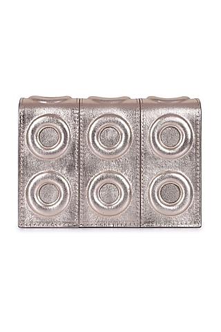 Gold Geometric Pattern Leather Mini Bag by Kaeros