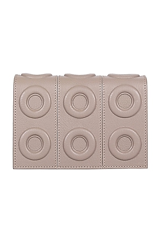 Grey Geometric Pattern Leather Mini Bag by Kaeros