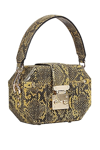 Yellow Python Printed Box Bag by Kaeros