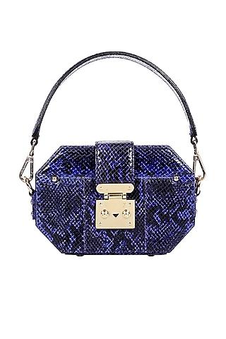 Blue Python Printed Box Bag by Kaeros