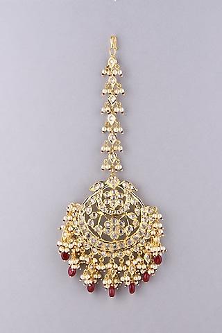 Gold Plated Red Onyx Maang Tikka by Kiara