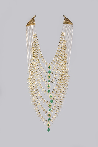 Gold Plated Green Onyx Necklace by Kiara